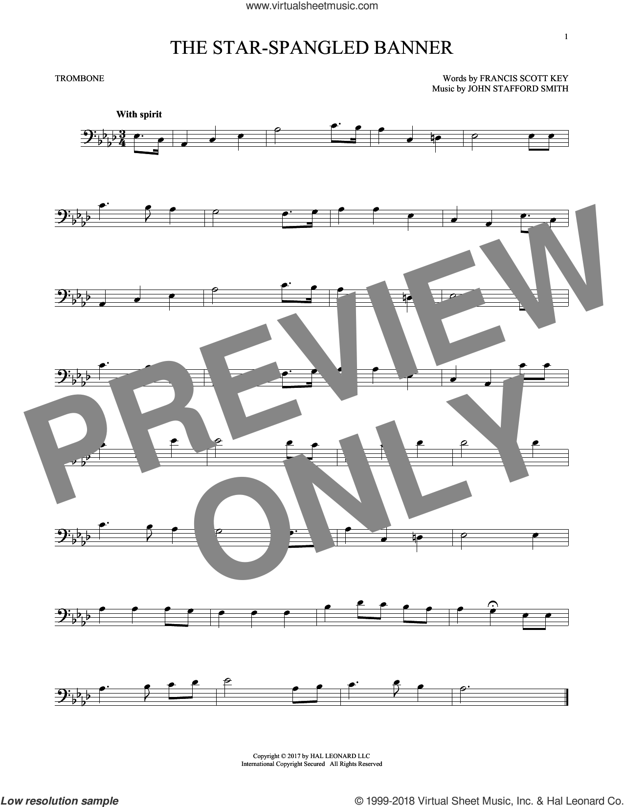 The Star-Spangled Banner sheet music for trombone solo by John Stafford Smith and Francis Scott Key, intermediate skill level