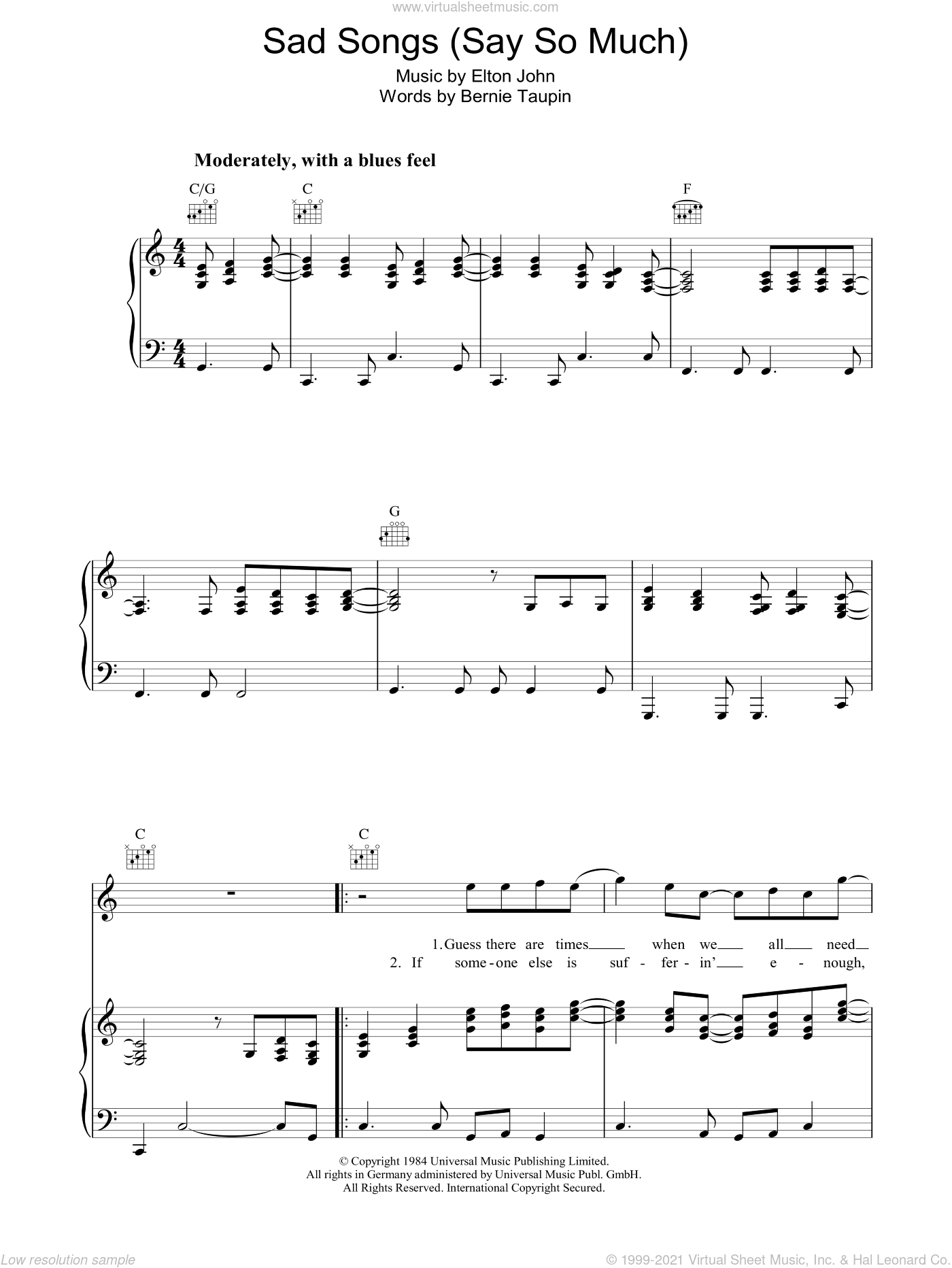 Sad Songs (Say So Much) sheet music for voice, piano or guitar by Elton John and Bernie Taupin, intermediate voice, piano or guitar. Score Image Preview.
