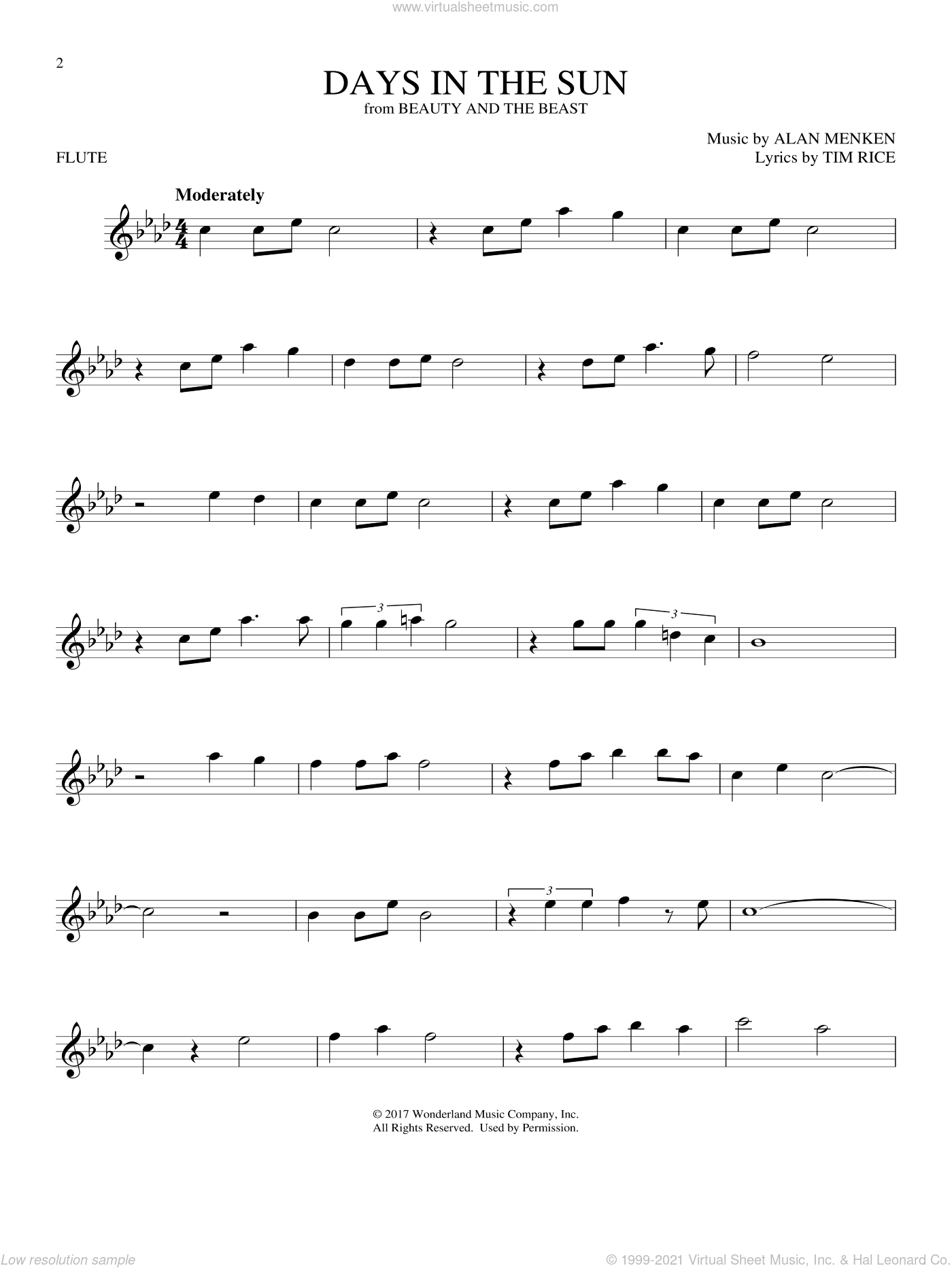 Days In The Sun (from Beauty And The Beast) sheet music for flute solo by Alan Menken and Tim Rice, intermediate skill level