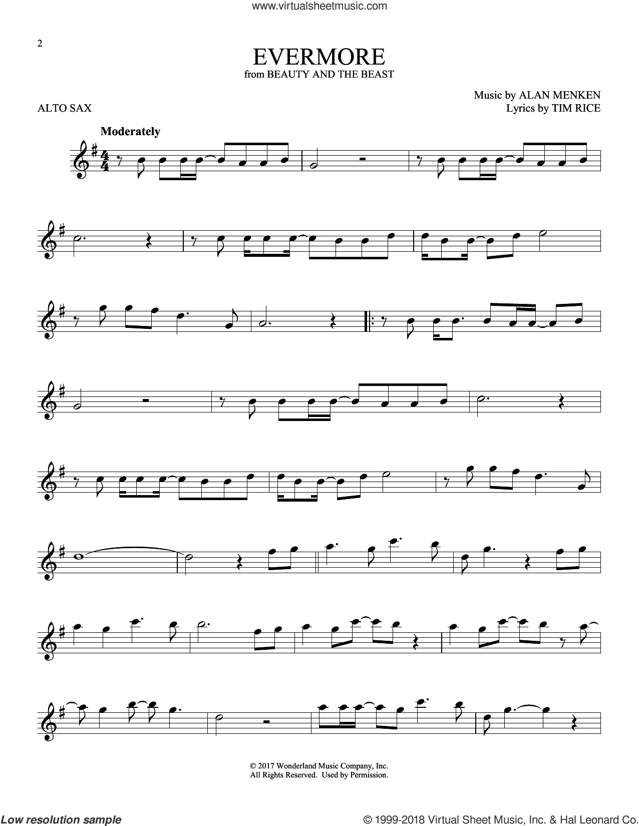 Evermore sheet music for alto saxophone solo by Alan Menken and Tim Rice, intermediate skill level