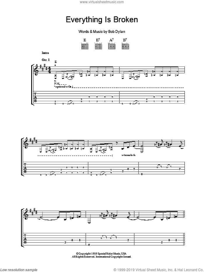Everything Is Broken sheet music for guitar (tablature) by Bob Dylan, intermediate skill level