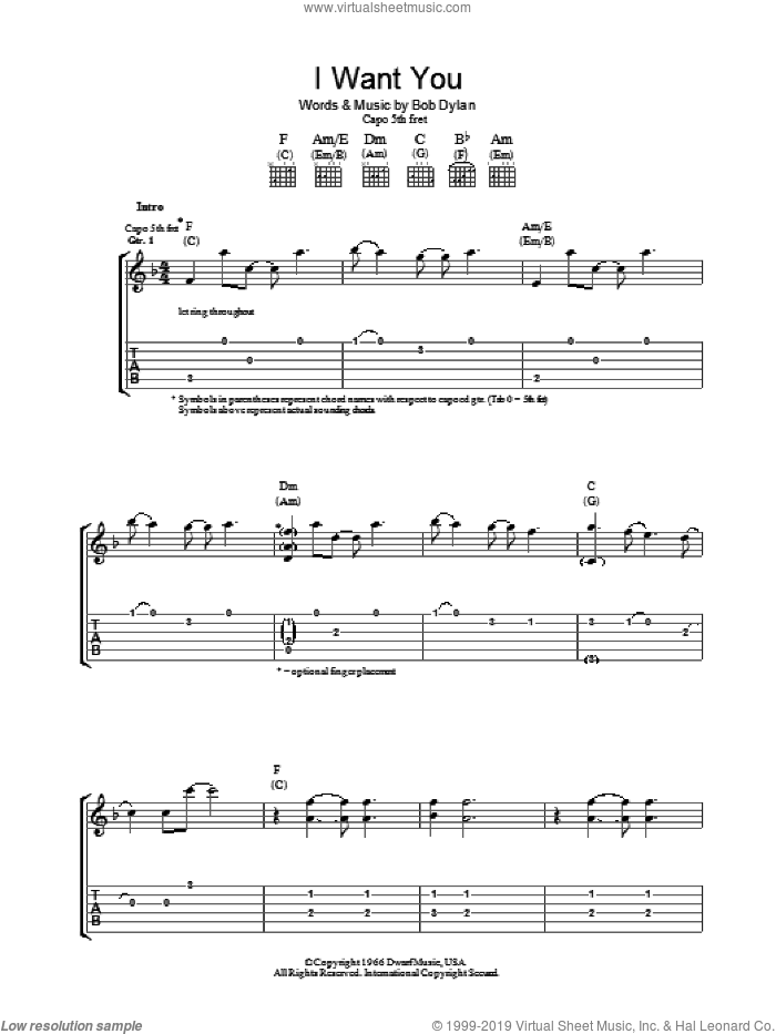 I Want You sheet music for guitar (tablature) by Bob Dylan, intermediate skill level