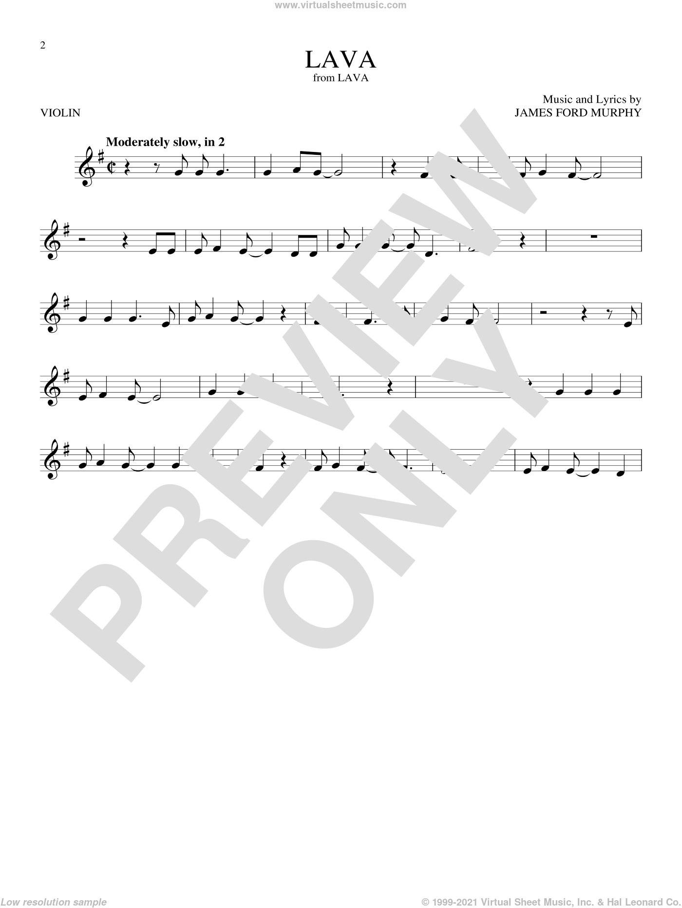 Lava sheet music for violin solo by James Ford Murphy, intermediate skill level