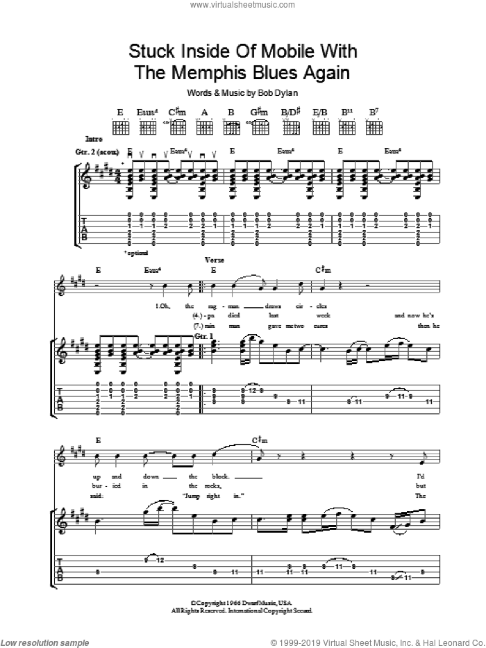 Stuck Inside Of Mobile With The Memphis Blues Again sheet music for guitar (tablature) by Bob Dylan. Score Image Preview.