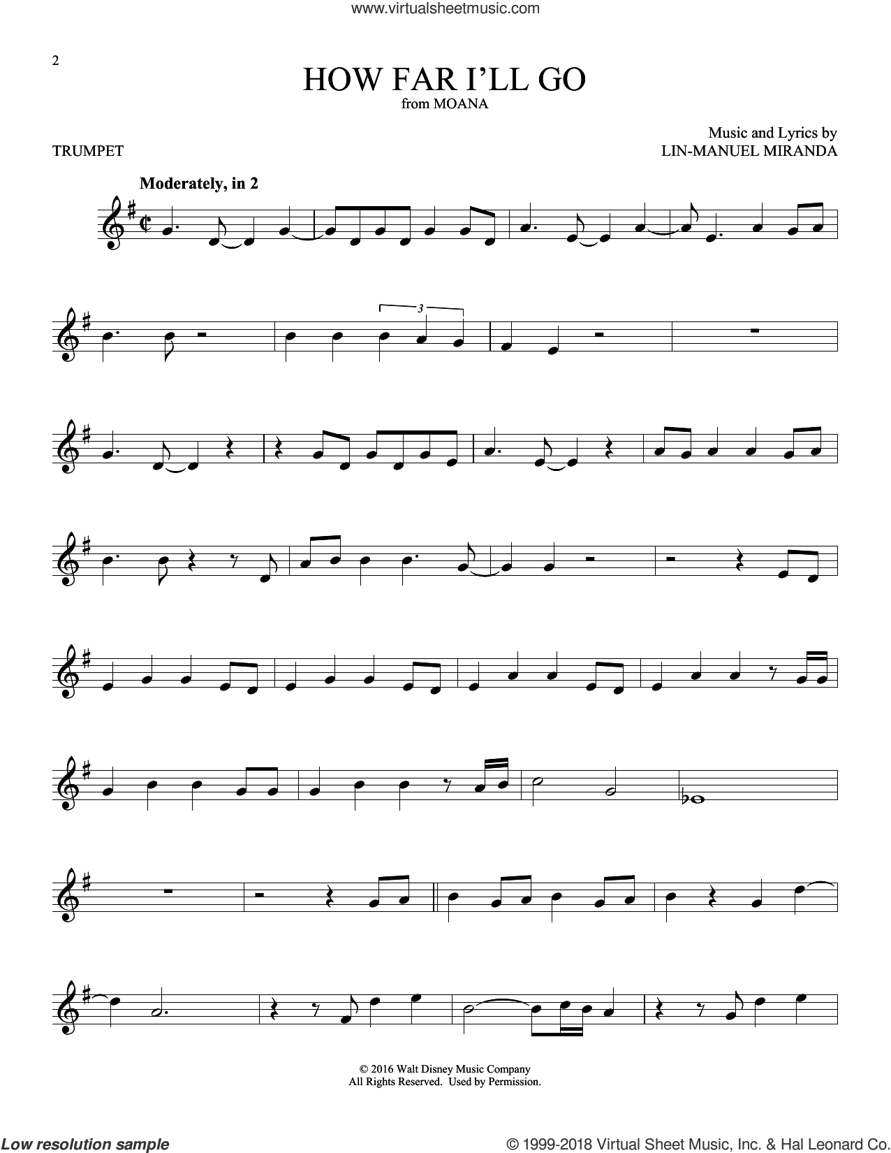 How Far I'll Go (from Moana) sheet music for trumpet solo by Alessia Cara and Lin-Manuel Miranda, intermediate skill level