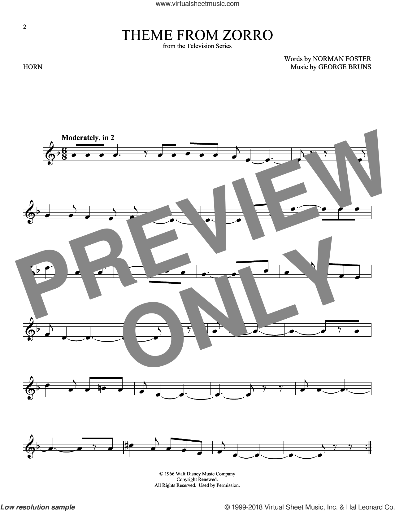 Theme From Zorro sheet music for horn solo by George Bruns and Norman Foster, intermediate skill level