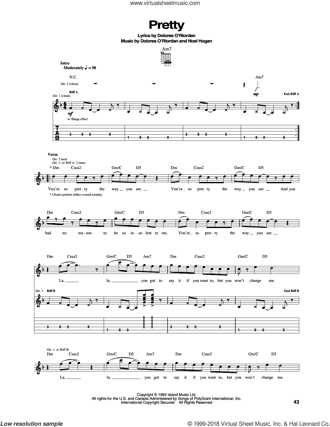 Pretty sheet music for guitar (tablature) by The Cranberries and Noel Hogan, intermediate skill level