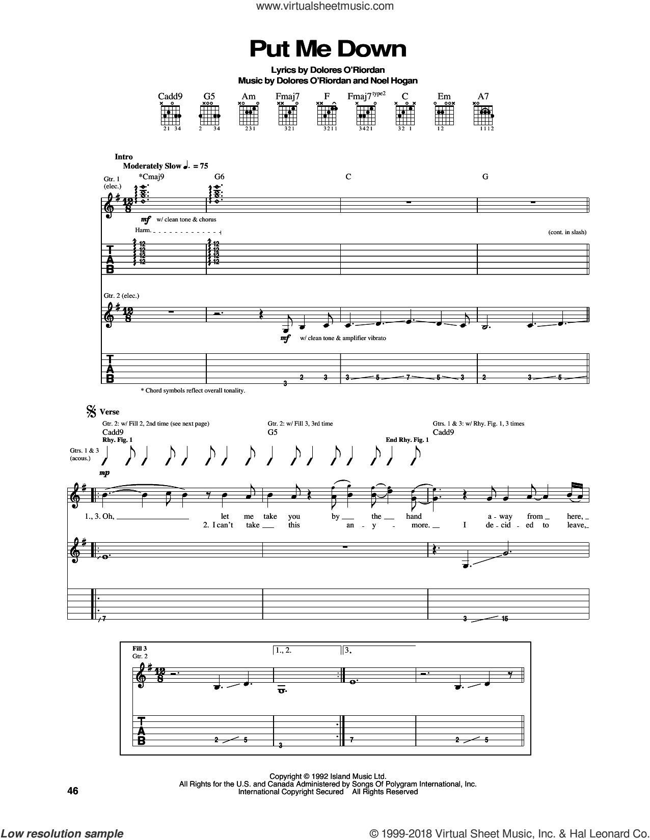 Put Me Down sheet music for guitar (tablature) by The Cranberries and Noel Hogan, intermediate skill level