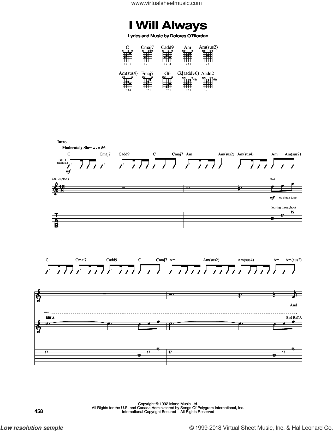 I Will Always sheet music for guitar (tablature) by The Cranberries, intermediate skill level