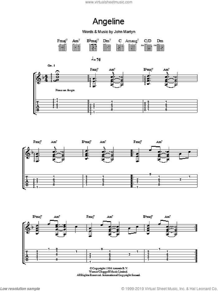 Angeline sheet music for guitar (tablature) by John Martyn, intermediate. Score Image Preview.
