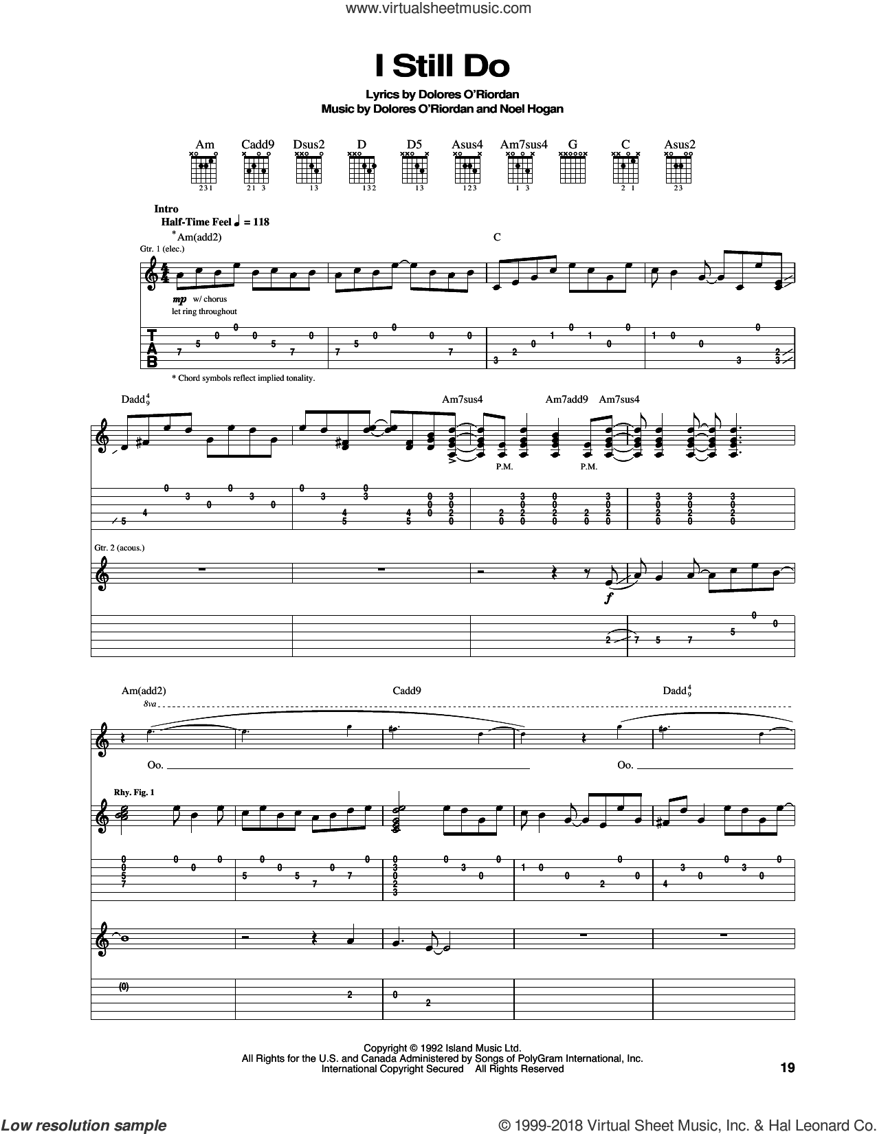 I Still Do sheet music for guitar (tablature) by The Cranberries and Noel Hogan, intermediate skill level