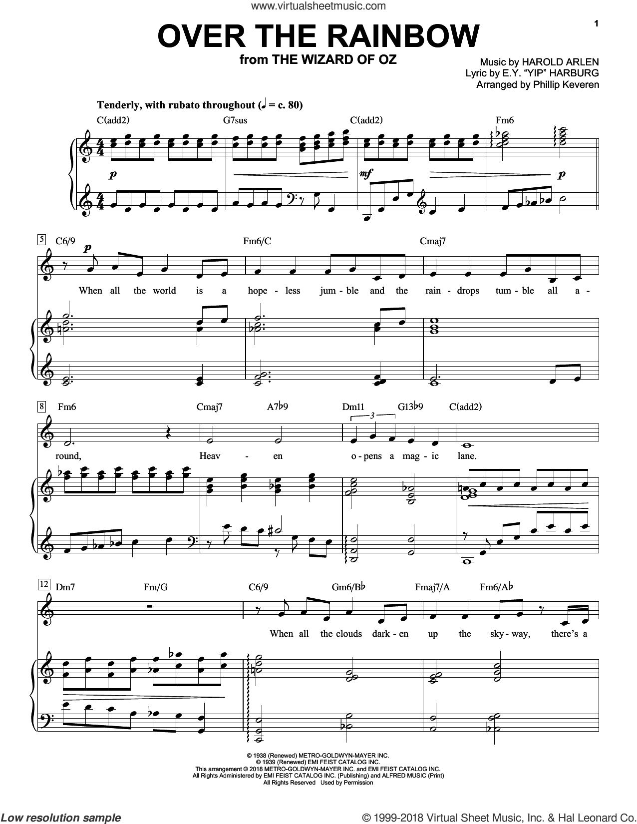 Over The Rainbow (arr. Phillip Keveren) sheet music for voice and piano by Harold Arlen, Phillip Keveren and E.Y. Harburg, intermediate skill level