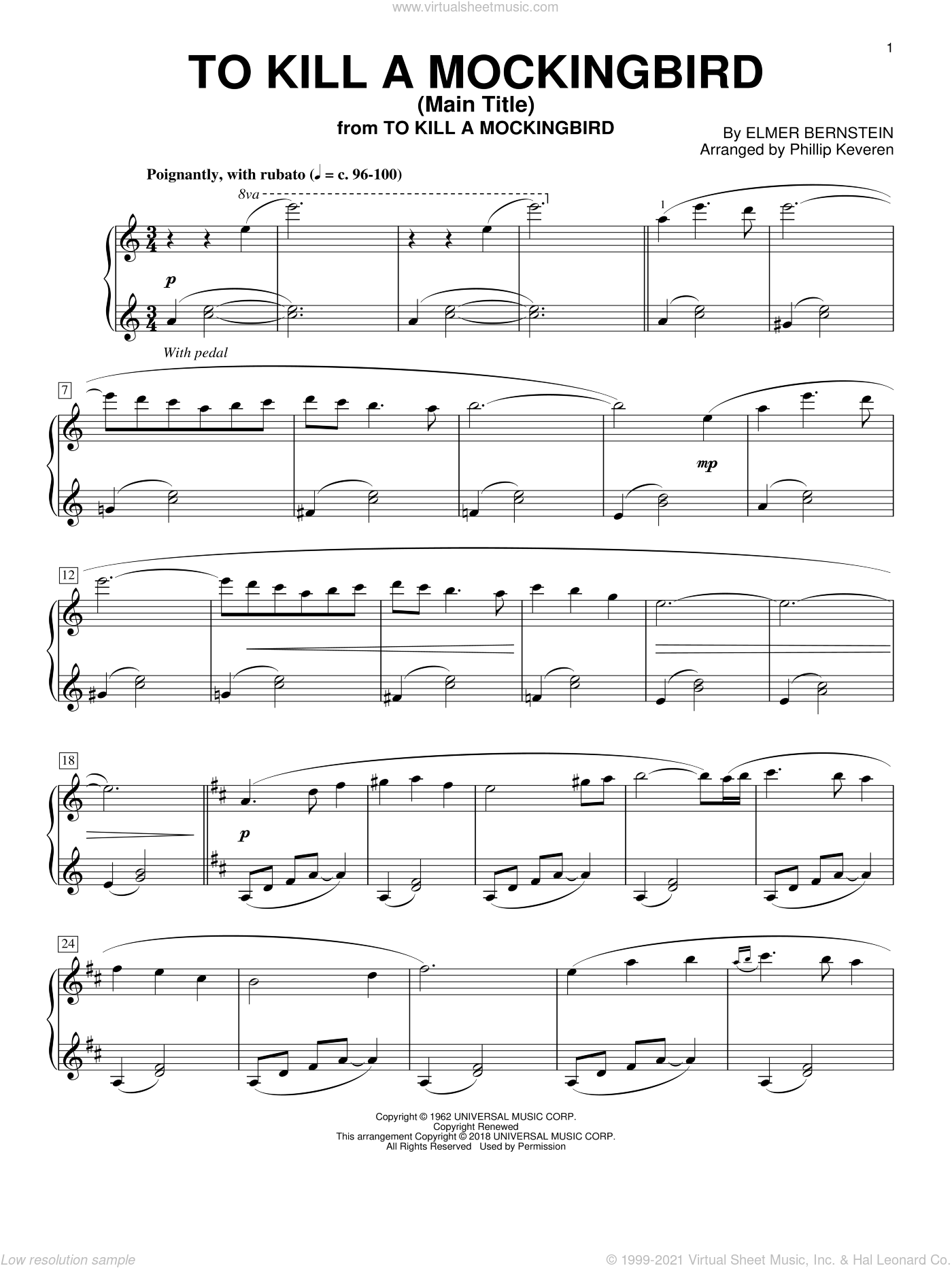 To Kill A Mockingbird - Main Title sheet music for piano solo by Elmer Bernstein and Phillip Keveren, intermediate skill level