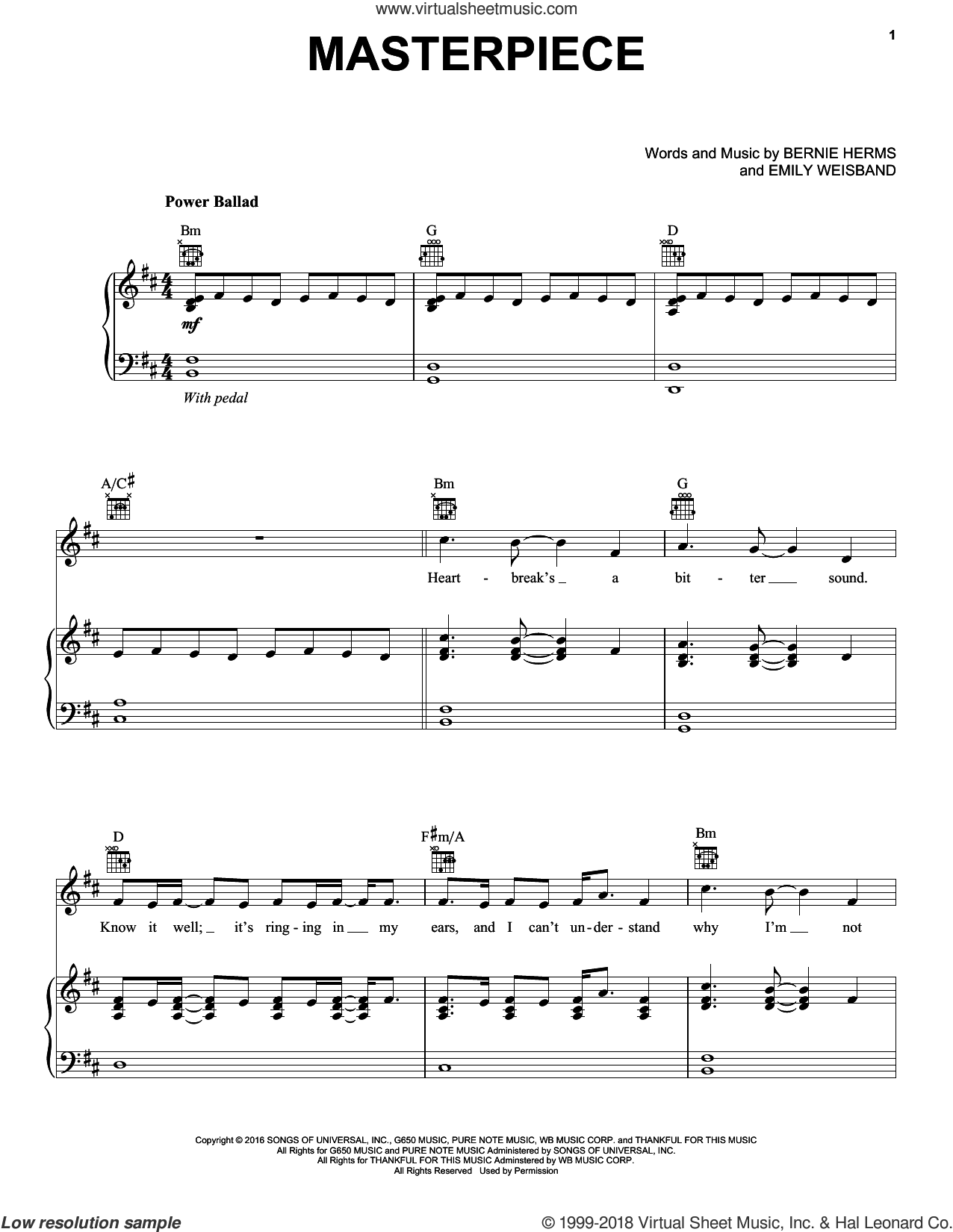 Masterpiece sheet music for voice, piano or guitar by Danny Gokey, Bernie Herms and Emily Weisband, intermediate skill level