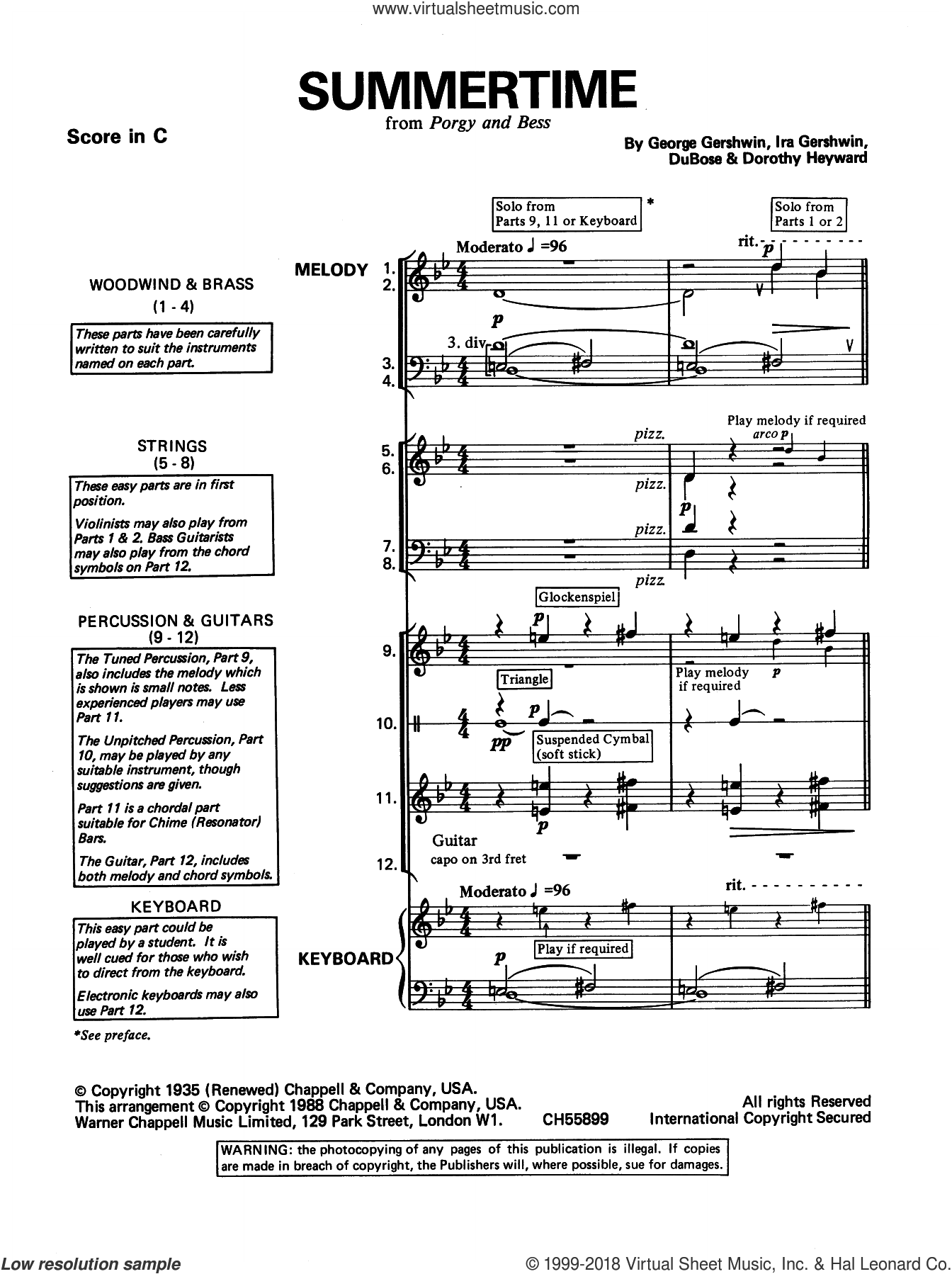 Summertime sheet music for band (classroom band pack) by George Gershwin, intermediate skill level