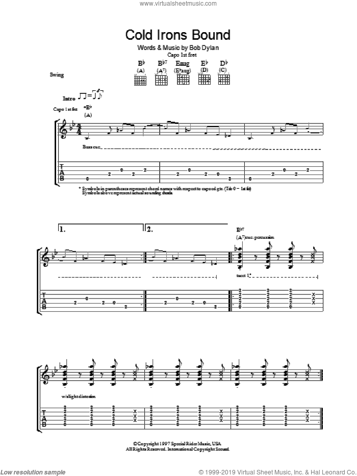 Cold Irons Bound sheet music for guitar (tablature) by Bob Dylan, intermediate skill level
