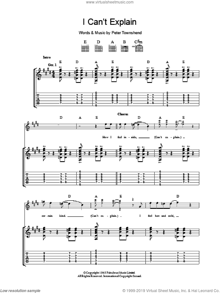 I Can't Explain sheet music for guitar (tablature) by The Who and Pete Townshend, intermediate. Score Image Preview.