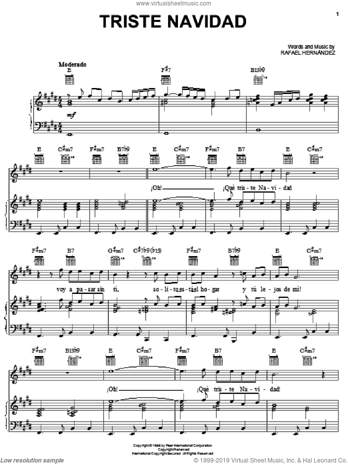 Triste Navidad sheet music for voice, piano or guitar by Rafael Hernandez, intermediate. Score Image Preview.