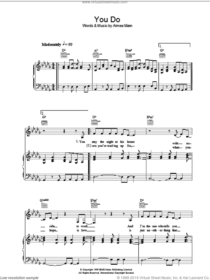 You Do sheet music for voice, piano or guitar by Aimee Mann, intermediate skill level