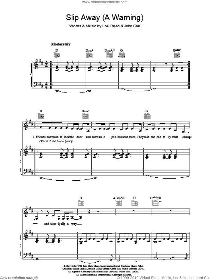 Slip Away (A Warning) sheet music for voice, piano or guitar by Lou Reed and John Cale, intermediate skill level