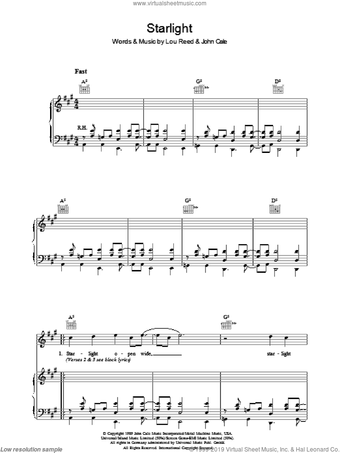 Starlight sheet music for voice, piano or guitar by John Cale and Lou Reed. Score Image Preview.
