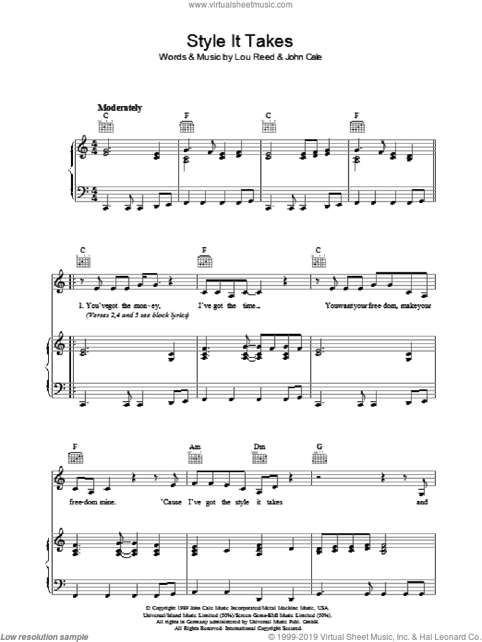 Style It Takes sheet music for voice, piano or guitar by Lou Reed and John Cale, intermediate skill level
