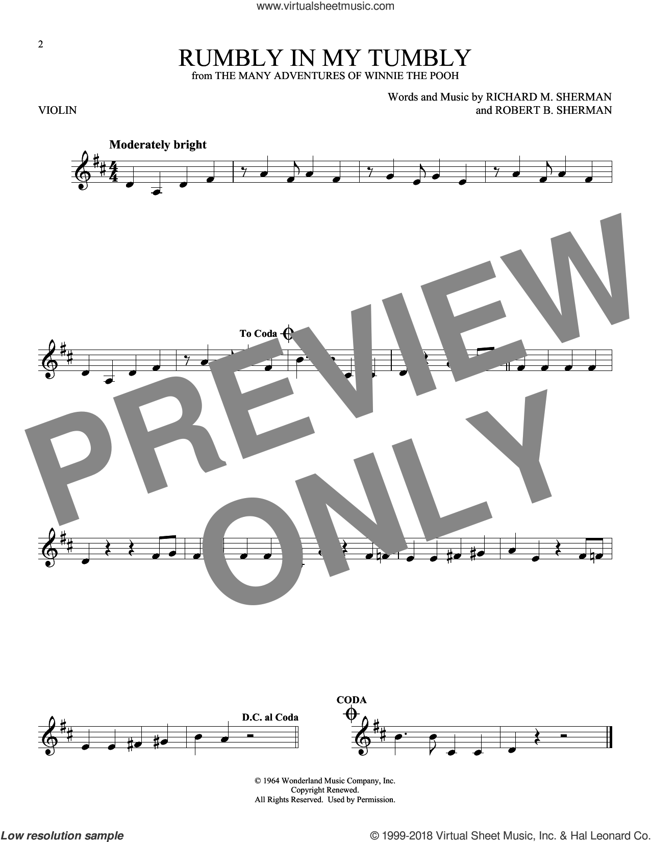 Rumbly In My Tumbly sheet music for violin solo by Richard M. Sherman and Robert B. Sherman, intermediate skill level