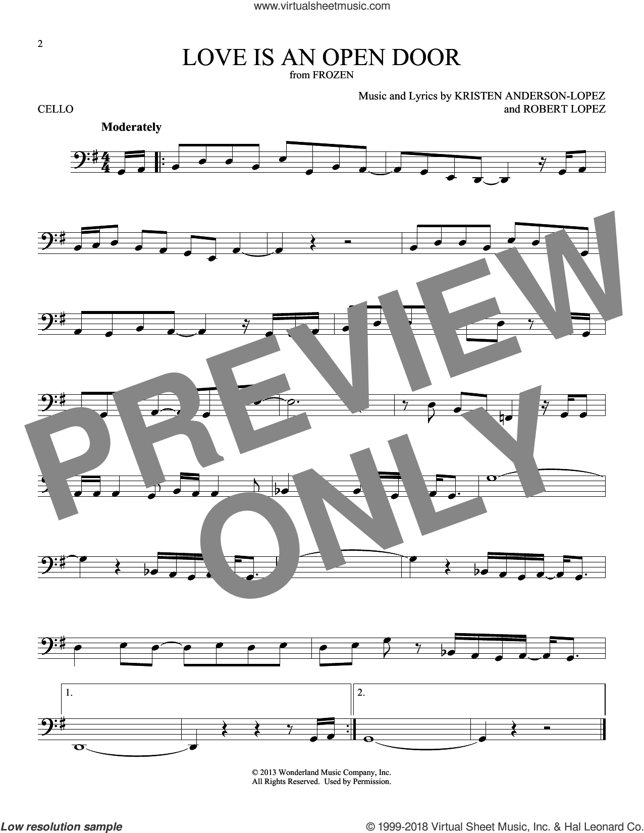 Love Is An Open Door (from Disney's Frozen) sheet music for cello solo by Kristen Bell & Santino Fontana, Kristen Anderson-Lopez and Robert Lopez, intermediate skill level