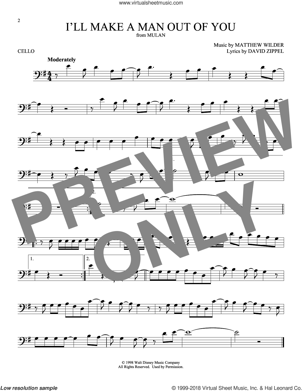 I'll Make A Man Out Of You (from Mulan) sheet music for cello solo by David Zippel and Matthew Wilder, intermediate skill level