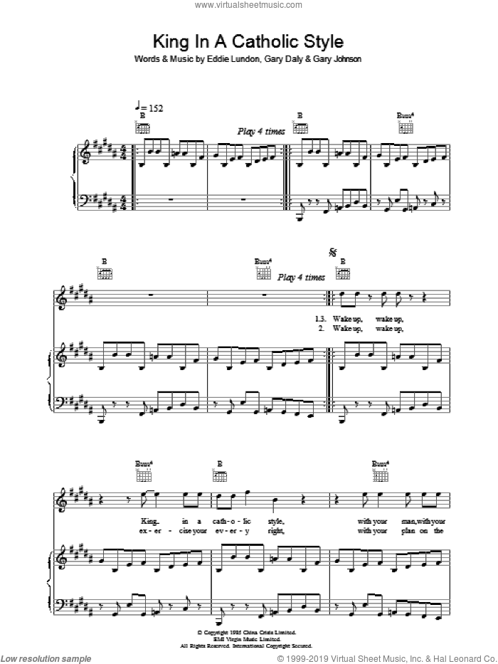 King In A Catholic Style sheet music for voice, piano or guitar by Eddie Lundon