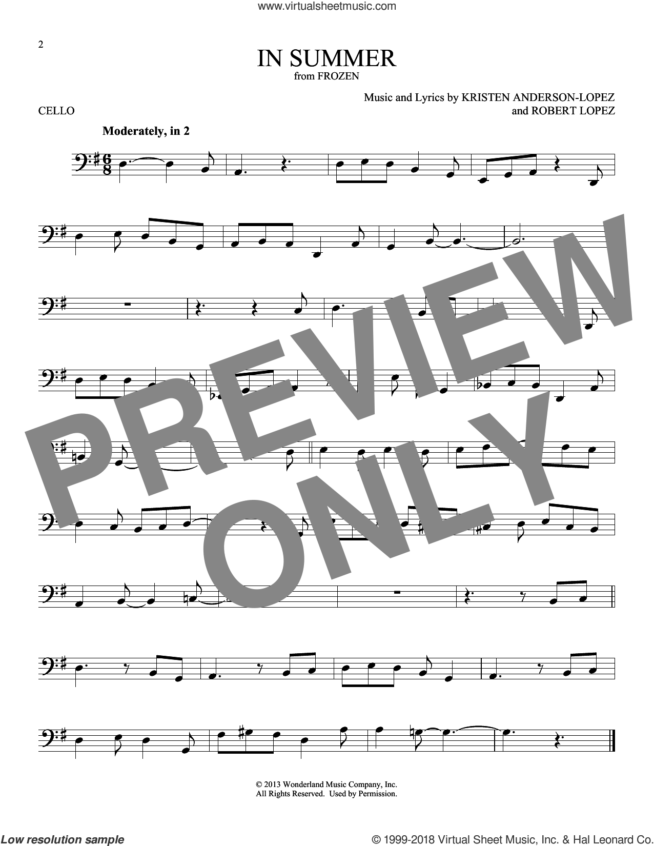 In Summer (from Disney's Frozen) sheet music for cello solo by Josh Gad, Kristen Anderson-Lopez and Robert Lopez, intermediate skill level