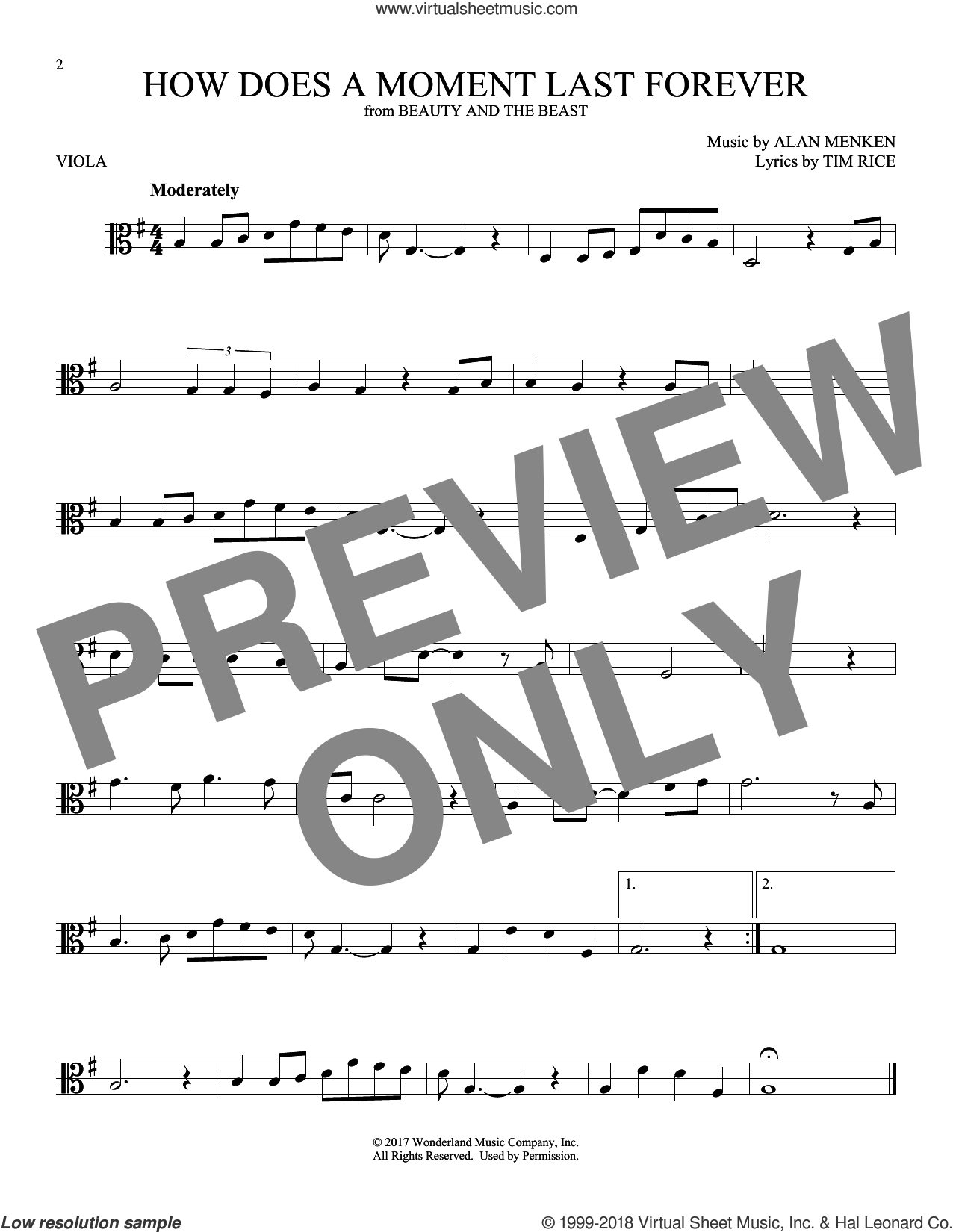 How Does A Moment Last Forever sheet music for viola solo by Alan Menken and Tim Rice, intermediate skill level