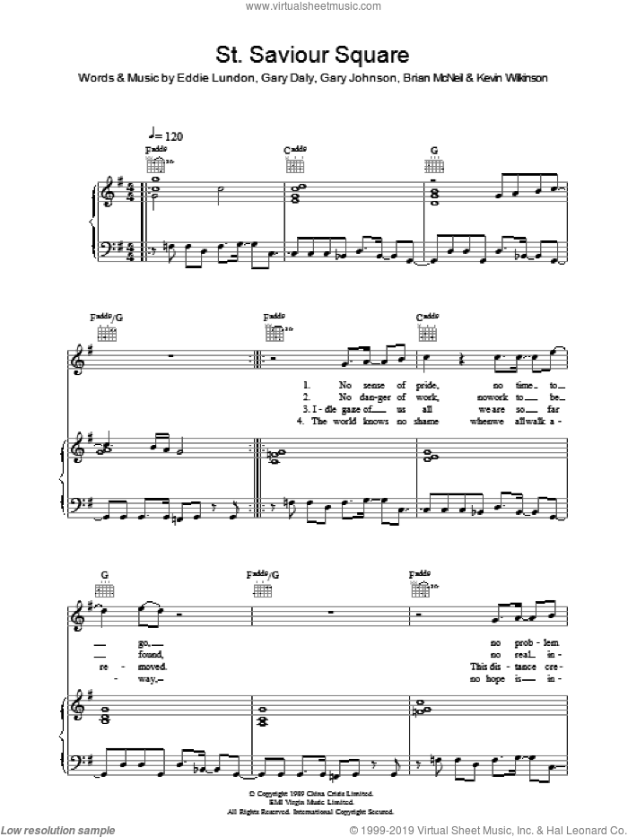 St. Saviour Square sheet music for voice, piano or guitar by Brian McNeil and Eddie Lundon. Score Image Preview.