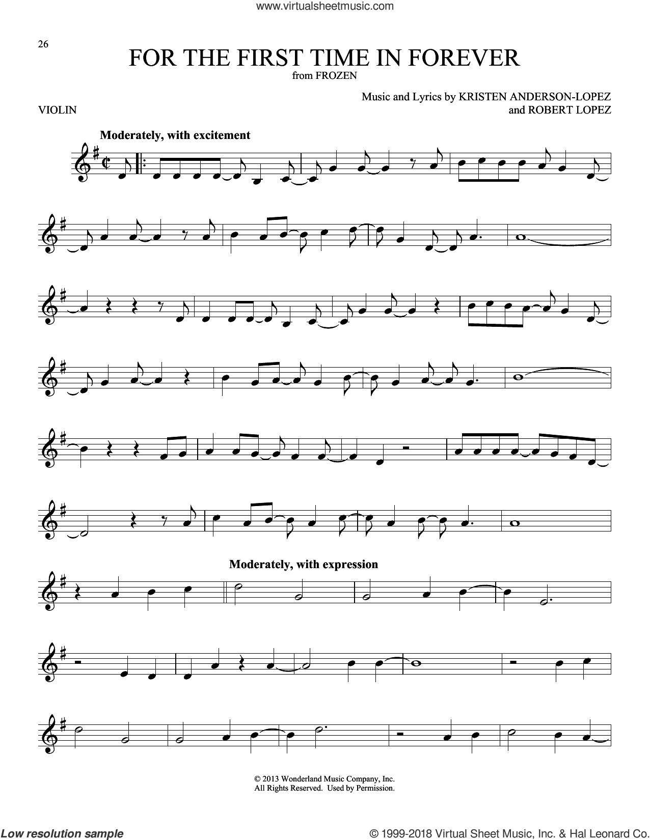 For The First Time In Forever (from Disney's Frozen) sheet music for violin solo by Kristen Bell, Idina Menzel, Kristen Anderson-Lopez and Robert Lopez, intermediate skill level