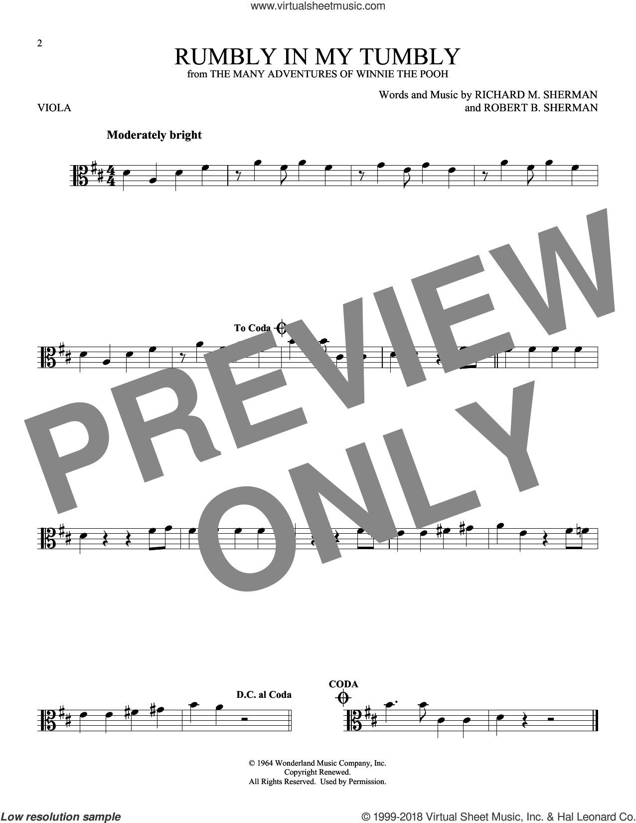 Rumbly In My Tumbly sheet music for viola solo by Richard M. Sherman and Robert B. Sherman, intermediate skill level
