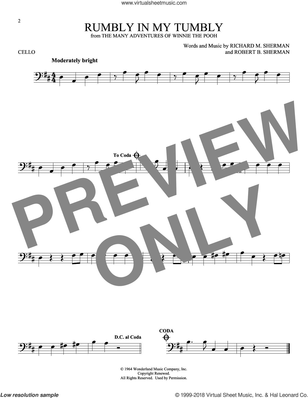 Rumbly In My Tumbly sheet music for cello solo by Richard M. Sherman and Robert B. Sherman, intermediate skill level