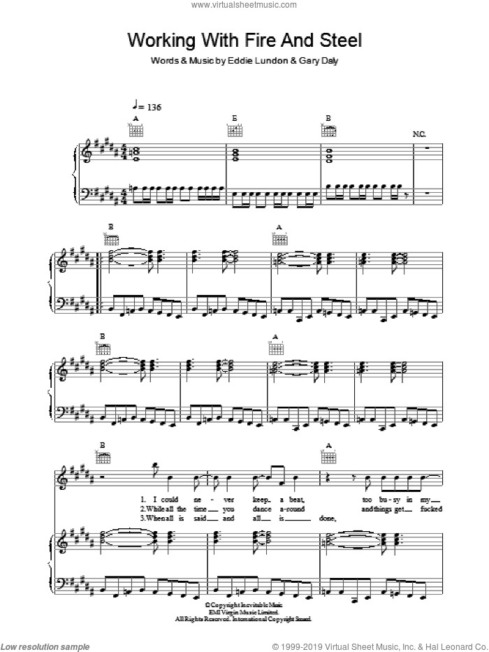 Working With Fire And Steel sheet music for voice, piano or guitar by China Crisis, intermediate voice, piano or guitar. Score Image Preview.