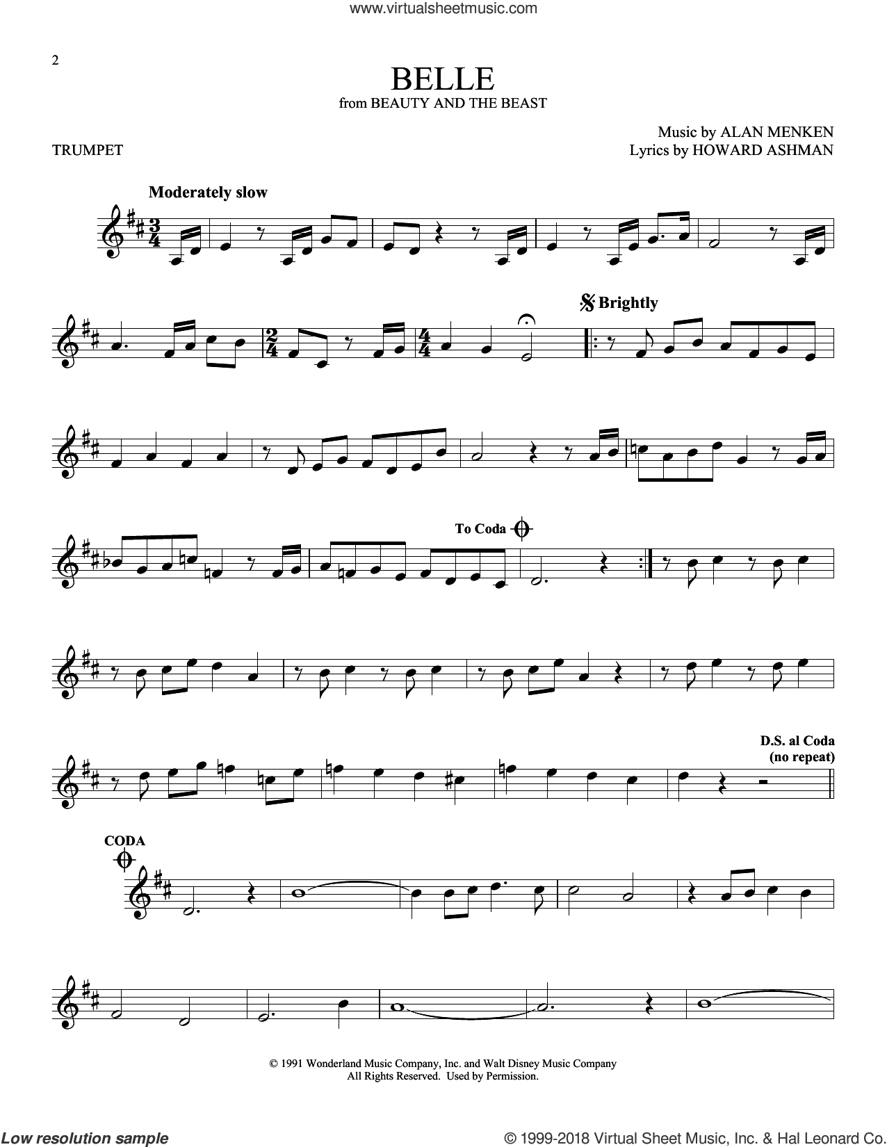 Belle (from Beauty And The Beast) sheet music for trumpet solo by Alan Menken and Howard Ashman, intermediate skill level