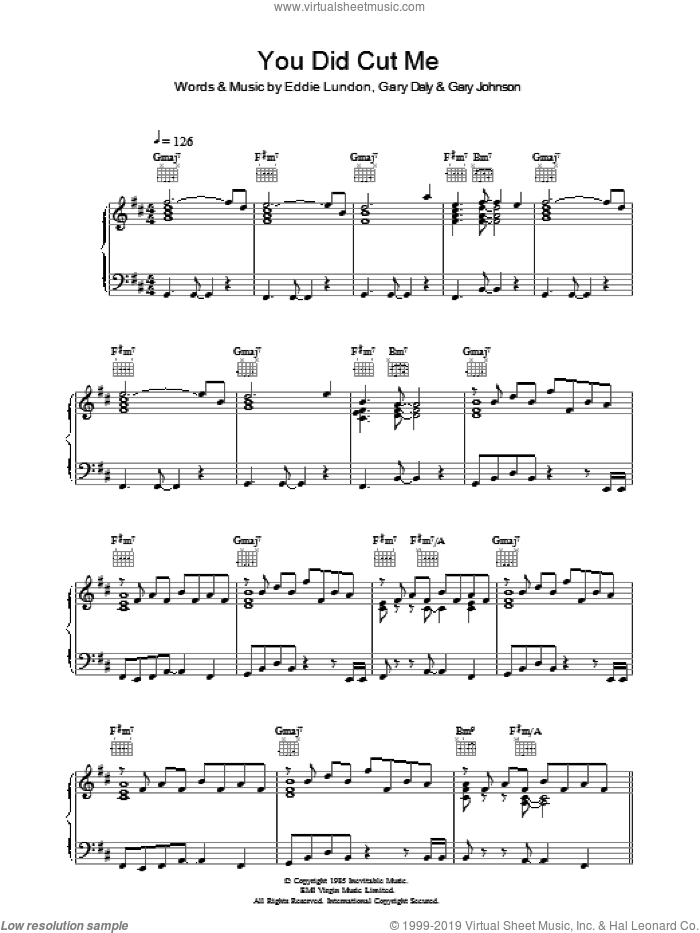 You Did Cut Me sheet music for voice, piano or guitar by Eddie Lundon