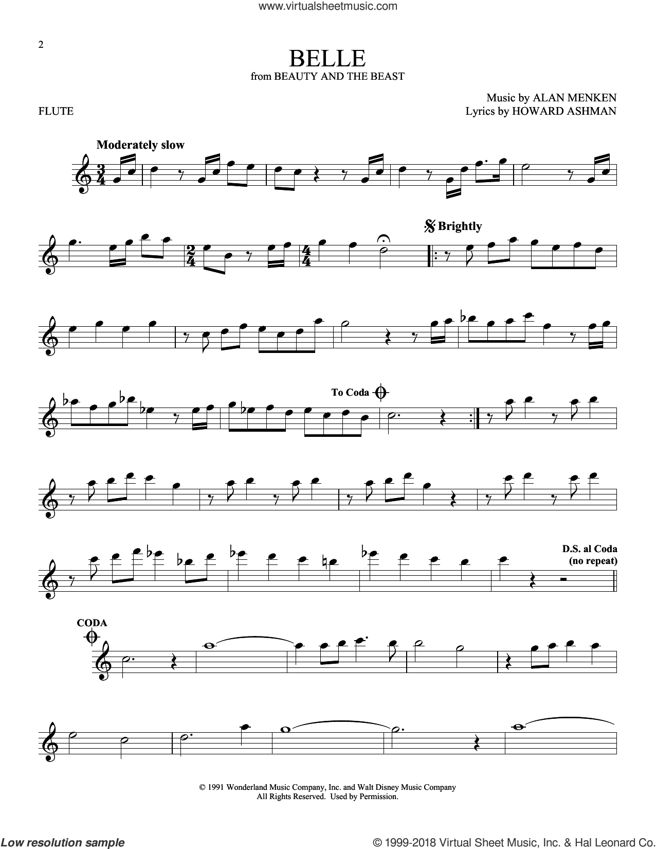 Belle (from Beauty And The Beast) sheet music for flute solo by Alan Menken and Howard Ashman, intermediate skill level