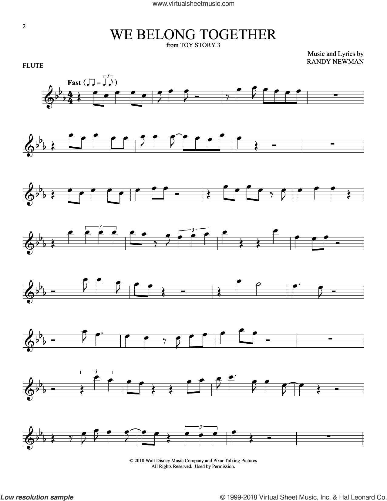 We Belong Together (from Toy Story 3) sheet music for flute solo by Randy Newman, intermediate skill level