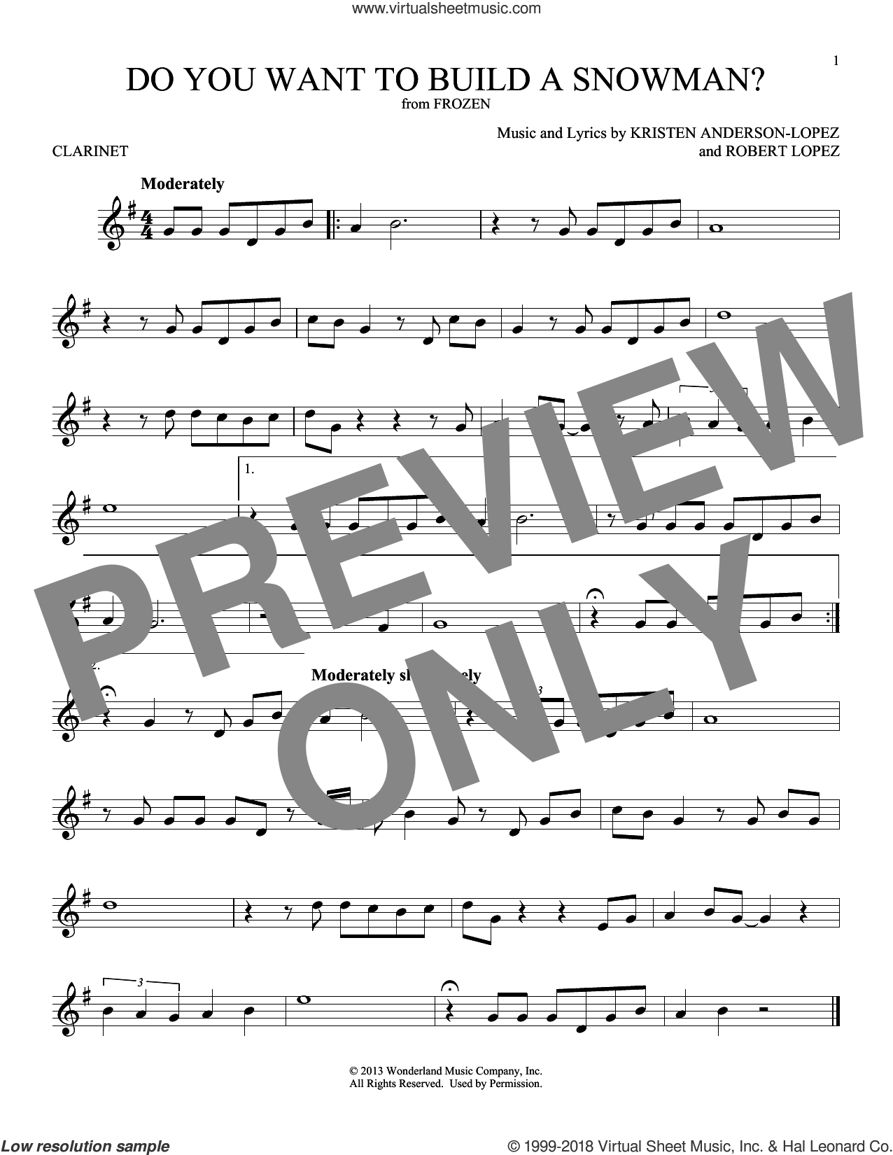 Do You Want To Build A Snowman? (from Disney's Frozen) sheet music for clarinet solo by Kristen Bell, Agatha Lee Monn & Katie Lopez, Kristen Anderson-Lopez and Robert Lopez, intermediate skill level