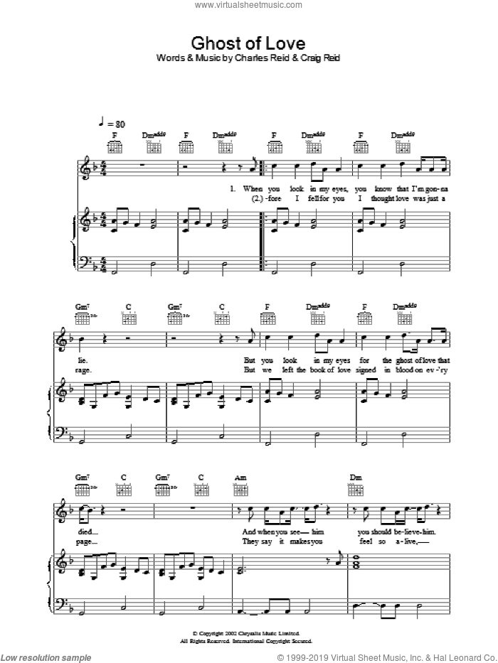 Ghost Of Love sheet music for voice, piano or guitar by Charles Reid and Craig Reid. Score Image Preview.