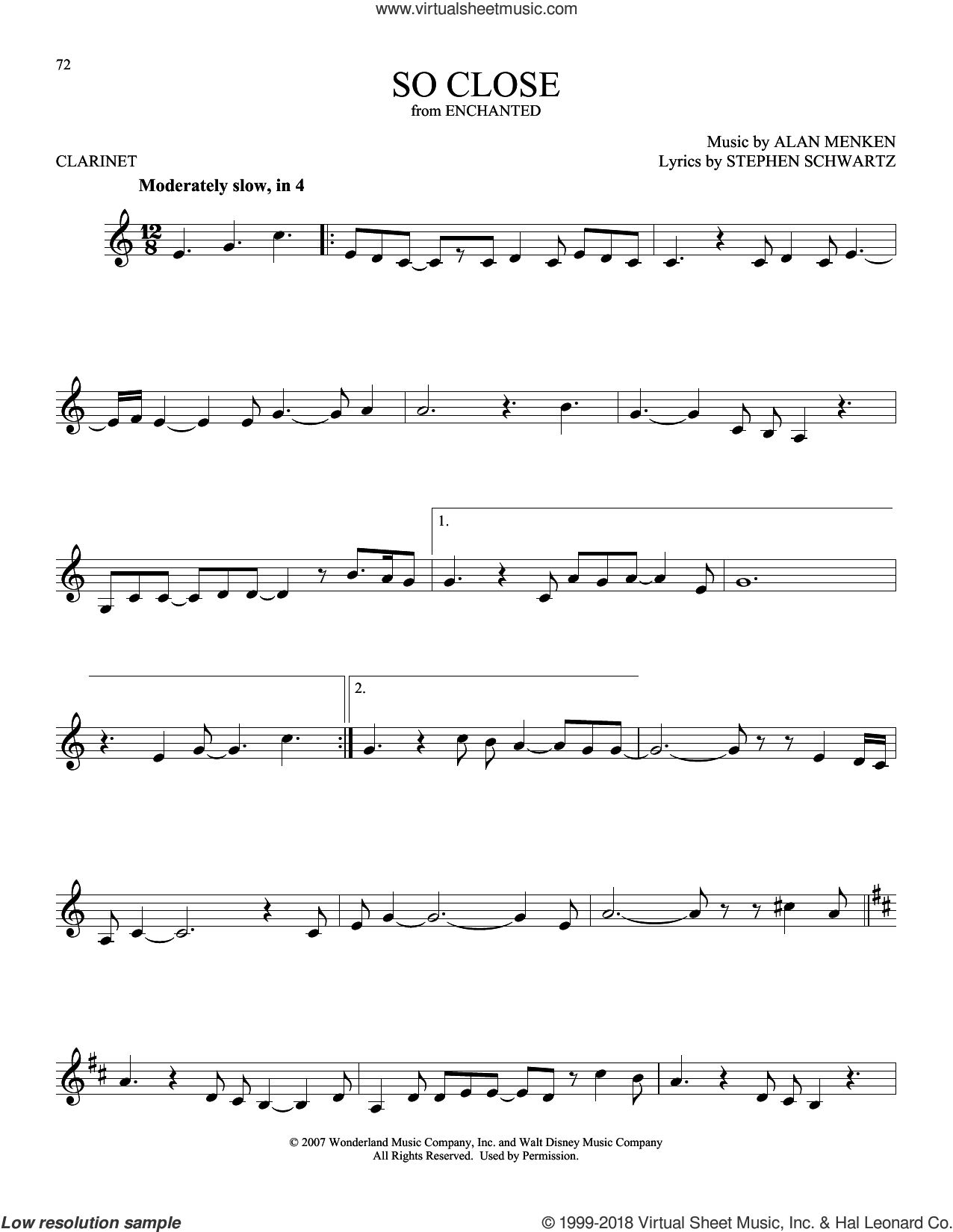 So Close sheet music for clarinet solo by Alan Menken and Stephen Schwartz, intermediate skill level