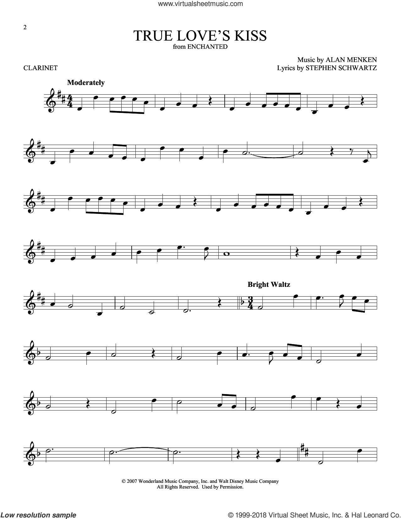 True Love's Kiss sheet music for clarinet solo by Alan Menken and Stephen Schwartz, intermediate skill level