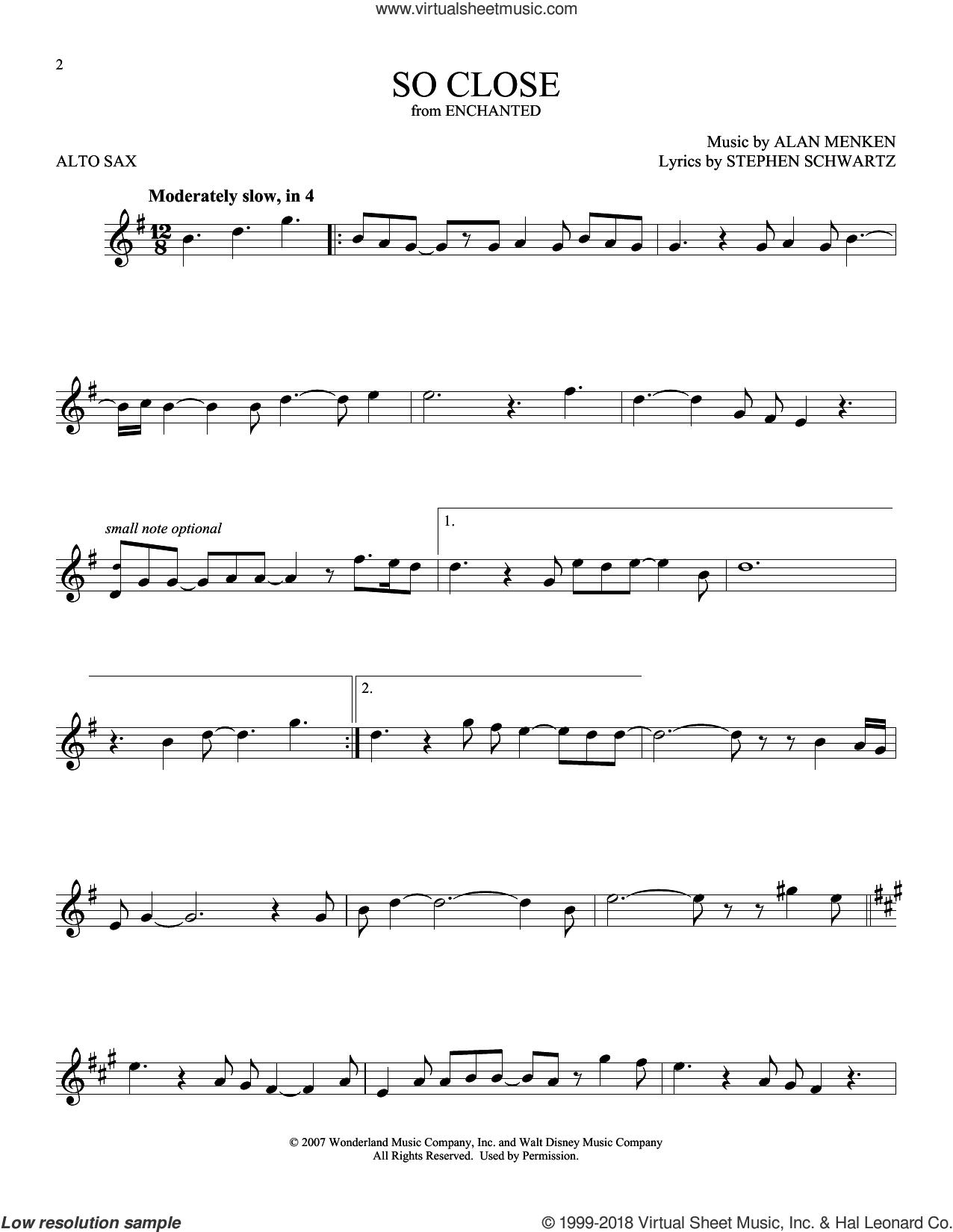 So Close sheet music for alto saxophone solo by Alan Menken and Stephen Schwartz, intermediate skill level