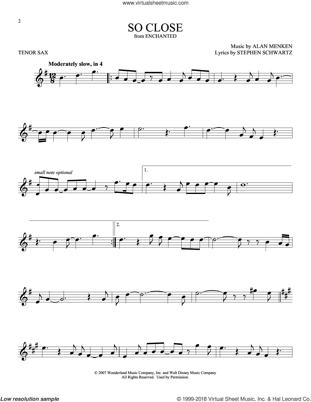 So Close sheet music for tenor saxophone solo by Alan Menken and Stephen Schwartz, intermediate skill level