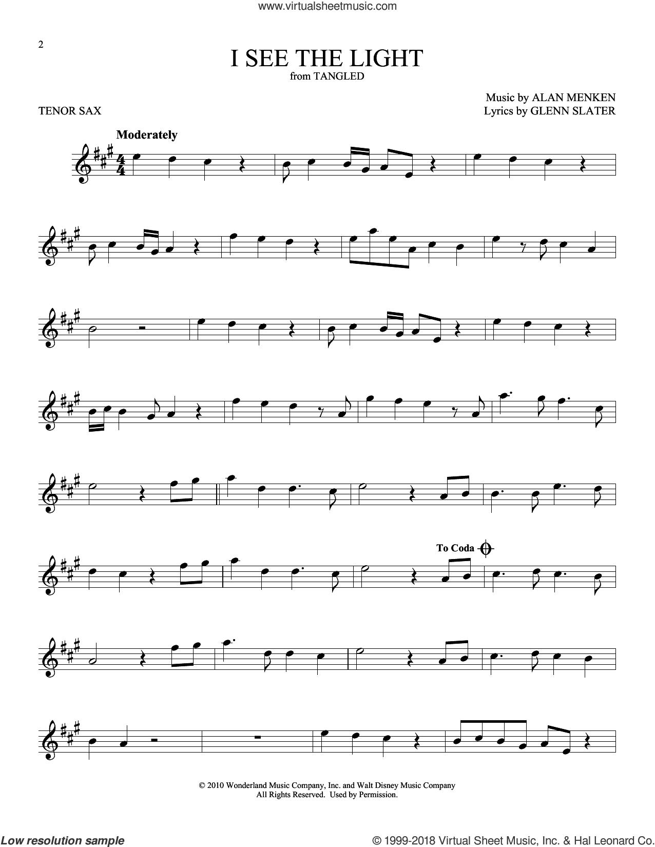 I See The Light sheet music for tenor saxophone solo by Alan Menken and Glenn Slater, intermediate skill level