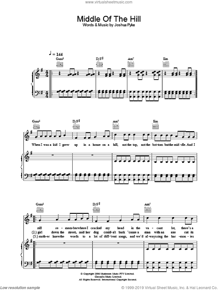 Middle Of The Hill sheet music for voice, piano or guitar by Joshua Pyke. Score Image Preview.