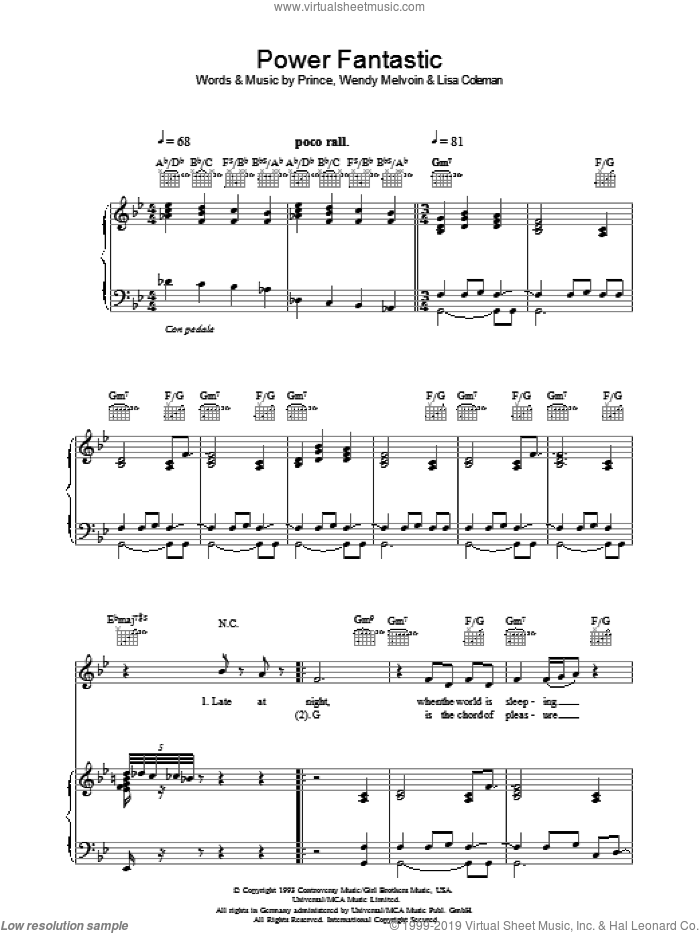 Power Fantastic sheet music for voice, piano or guitar by Lisa Coleman, Prince and Wendy Melvoin